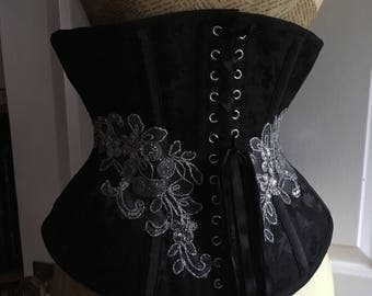 """Black underbust corset with silver lace appliqué (28"""" waist)"""