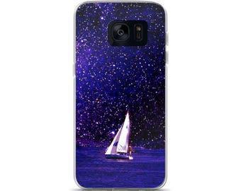 Sailing Purple Under the Milky Way, Nautical Art, Sailboat, Coastal Art, Fantasy Art, Sea, Ocean, Samsung Case