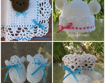 Crochet Pattern 4 PC Set White Bear Hat Baby Booties Baby Little Bear Blanket Thumb-less Mittens Lace Booties Baby Boy Baby Girl Toddler