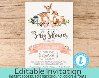 Floral Woodland Animals Baby Shower Invitation, Editable Baby Shower  Invitation, Girl Woodland Invite,