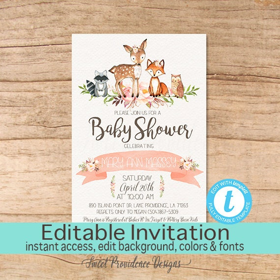 Floral Woodland Animals Baby Shower Invitation, Editable Baby Shower  Invitation, Girl Woodland Invite, Printable Template Instant Download
