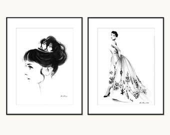 Audrey Hepburn in Black and White - 2 Ink drawing illustration art print set - Sabrina