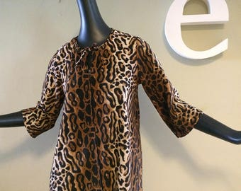 Vintage 50s 60s Leopard Robe 1950s 1960s Rockabilly Lounger Bathrobe Bath Robe Cheetah Animal Print Fleece by Dela Ann (like Vanity Fair) M