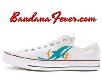 Custom Dolphins Converse Low White, FREE SHIPPING, #Dolphins, #football, #sports, #finsup, #converse, #converseallstar, by Bandana Fever