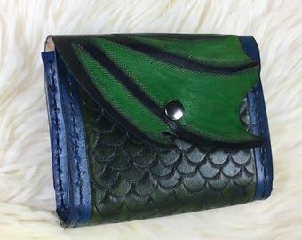 Leather Belt Pouch - Green Dragon Wing - Belt Pouch - Viking Belt Pouch - Hip Bag - Belt Bag - Leather Hip Bag - Belt Pocket - Norse Gift