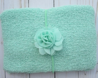 Mint Chiffon Flower Headband AND/OR Mint Stretch Knit Wrap, for photo shoots, new baby, bebe newborn infant photographer, Lil Miss Sweet Pea