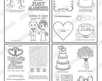 ON SALE Mini Printable Personalized Wedding coloring activity book  Favor Kids 4.25 x 5.5  PDF or Jpeg Template