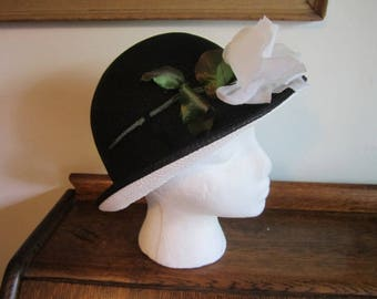 Black and White ADOLFO 11 Paris Straw Hat Vintage Monochrome Straw Bowler Hat with White Rose ADOLFO 11 for Fox & Co Black / White Straw Hat