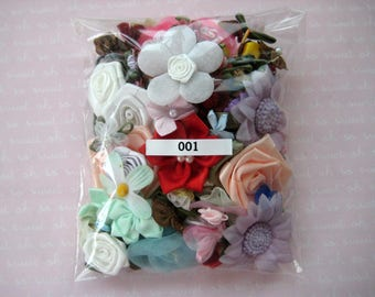 Assorted Appliques, GRAB BAG, Multi Combo for Sewing, Crafting, Scrapbooking Embellishment, Hair Accessories, Doll Clothes, 1 Bag, 2 oz, 001