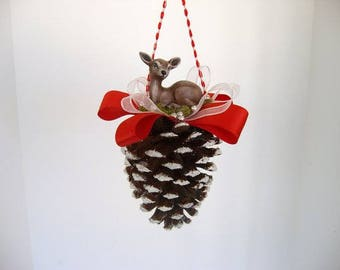 Ornament, pine cone ornament, decorated pine cone with ceramic deer