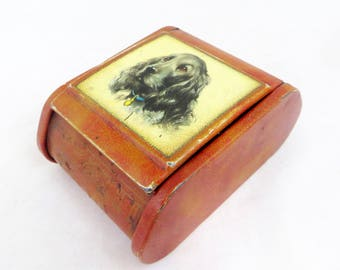 Vintage Spaniel Tobacco Tin, Shabby Chic Dog Portrait Litho-Printed Lidded Metal Keepsake Trinket Box Retro Mid Century 1950s