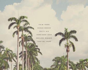 Palm Trees, Palm Tree Art, Seaside Print, Oceanside Art, Tropical Art, Beach Wall Art, Beach Print, Seascape Art, Gift for Beach Lover