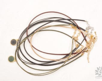 A359-02// Two Line Leather Pre-made Necklace, 2pcs