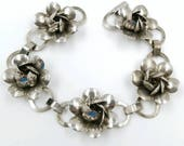 Vintage Marked Sterling Silver Flower Bracelet, Floral Bud Link Bravelet, Lightweight Sterling Flower Bracelet