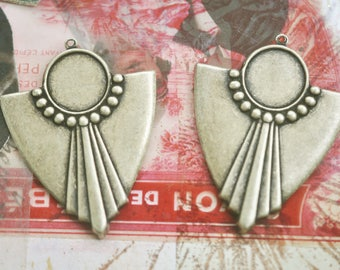 One pair of Art Deco brass earring components with bezel, Brass Ox