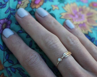 Gold opal feather stacking ring -skinny gold feather ring, gold opal ring, 14k gold filled ring