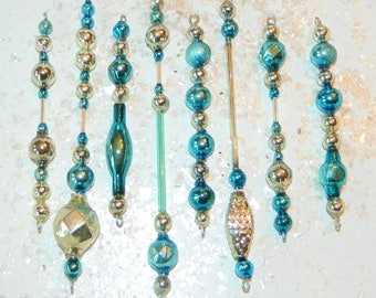 Vintage Mercury Glass Bead Icicle Christmas Ornaments Garland Feather Tree