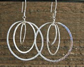 Sterling Silver Hammered Triple Hoop Dangle Earrings, Hammered Hoops, Orbit Earrings, Free Moving Hammered Circle Earrings
