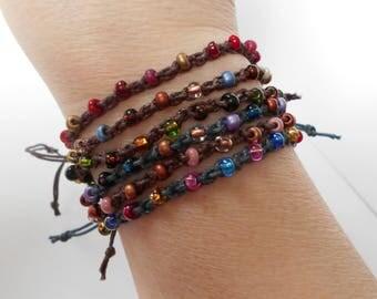 friendship bracelet, beaded tie-on bracelet, adjustable crochet bracelet, bohemian surfer style, festival jewelry, beachwear, gift for her