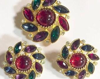 Vintage Multi Colored Pinwheel Rhinestone Brooch and Earrings Set