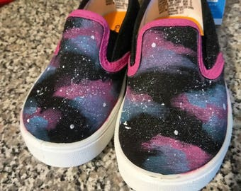 Cotton candy Galaxy kids/toddler/adult slip-on custom shoes