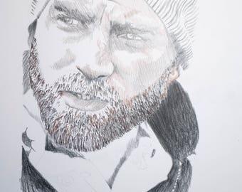 Signed Drawing Portrait Print, Winter Hair, 8.5x11 inches. Man portrait, masculine art, beard, facial hair, Mens room art