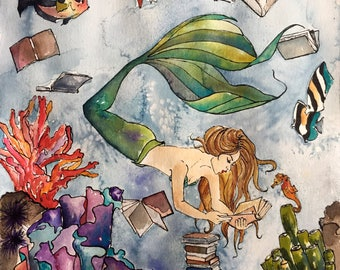 The Mermaid & the Seahorse, Books, Reading, Illustration, Watercolor, Mixed Media Giclee Art Print