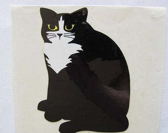 """SALE Mrs Grossman Black Tuxedo Cat Large Glossy Vintage Sticker - 80's aka Henri Le Chat Noir - and he's disappointed in you. 4"""" x 3"""""""