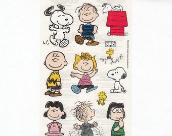SALE Peanuts Sandylion Transparent Maxi Sticker Sheet - Cartoon Snoopy Lucy Linus Woodstock Charlie Brown Pigpen Doghouse Collectible