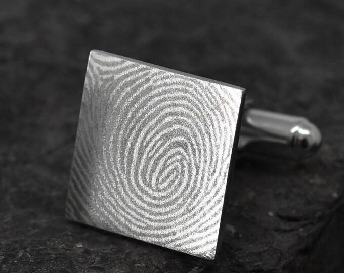 Fingerprint Cufflinks, Fingerprint Jewelry, Handwriting Cufflinks, Handwriting Jewelry, Personalized Cufflinks, Engraved Jewelry, Custom