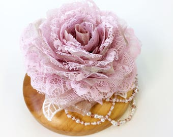 Pale Pink Silk Organza and Lace Bridal Hair Flower