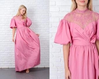 Vintage 70s Victorian Boho Dress Pink Flora Lace Puff Sleeve Maxi XS 9793