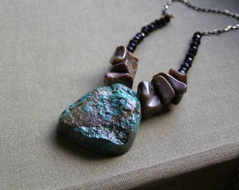 Gemstone Necklace, Gemstone Pendant Necklace, Druzy Pendant, Rough Gemstone Pendant Green Brown, Boho Jewelry Chrysocolla Necklace Layering