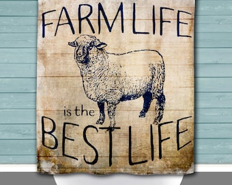 Sheep Shower Curtain: Farm Life is the Best Life Country Blue Chic | 12 Eyelet/Button Hole | Size and Pricing via Dropdown