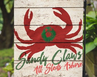 Christmas Flag |  Sandy Claws | Beachy Christmas | Garden or Large House Flag | Size via Dropdown | Convo for Custom
