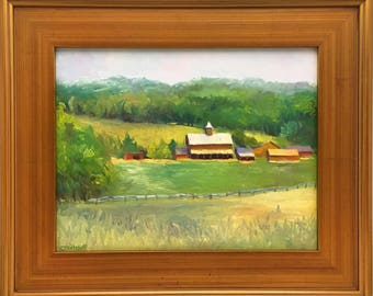 Plein Air Landscape Oil Painting on Canvas In the Rolling Field Framed Art