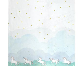 MINKY - Magic! Unicorn Parade Mint MINKY from Michael Miller Fabrics by Sarah Jane's Magic! Collection