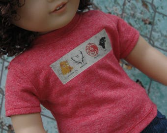 American, made, girl, boy, graphic, tee, shirt, fits, 18 inch doll, top, doll clothes