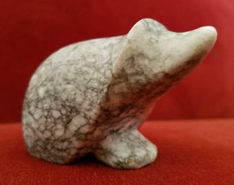 Carved granite mole figurine paperweight desk decor