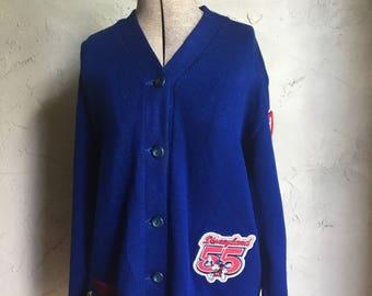 Vintage Royal Blue Letterman Sweater with Disney Theme and Pins