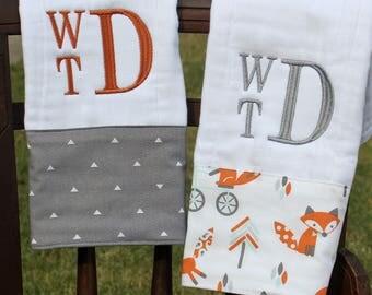 Burp Cloth Set, Monogrammed Burp Cloth Set, Personalized Burp Cloth Set, Baby Boy Burp Cloth Set, Fox Burp Cloth