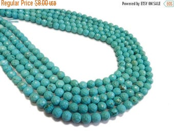 10% off July 4th Turquoise Howlite Rondelle Beads - 6mm - ONE STRAND - (S49B13-02)