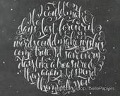 Time in a Bottle Hand lettered Song lyrics moon decoration chalkboard Calligraphy 1972 Music Nursery Wall Art Calligraphy