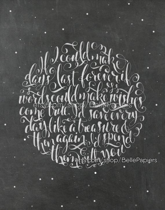 Time In A Bottle Jim Croce Hand Lettered Lyrics Moon