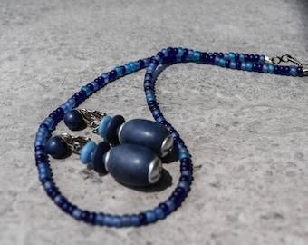 Blue Glass Bead Necklace, Vintage Blue Barrel Clip On Dangle Earrings Hong Kong