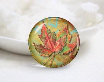 Leaf Photo Glass Cabochons (P3762)