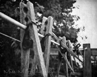 Wooden clothespins on clothesline, rustic, black, white farmhouse, country, home decor, laundry room, original fine art photograph, print