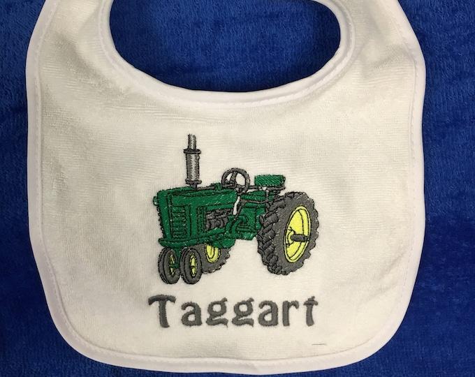 Tractor bib or burp cloth, tractor, monogram, Baptism bib, Personalized baby bib, any design, baby gift, any thread color, bib or burp cloth