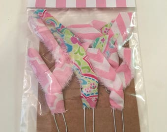 Fabric embellished paper clips, journaling, book mark