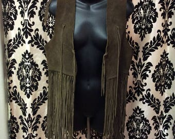 1960's Genuine Suede Leather Fringe Vest